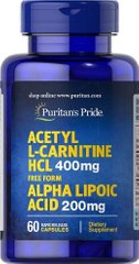 Жиросжигатель Acetyl L-Carnitine Free Form 400 mg with Alpha Lipoic Acid 200 mg - 60 кап
